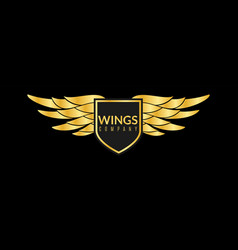 Gold wings logo creative sport or business vector