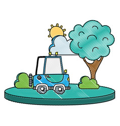 grated agrimotor car in the city with tree and sun vector image
