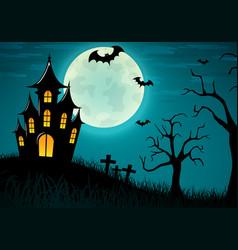 halloween castle background design vector image