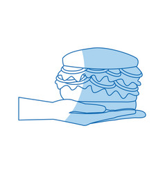 hand holding burger delicious unhealthy fast food vector image