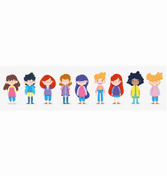 Happy children day group kids boys and girls on vector