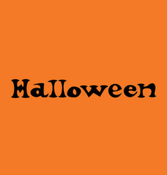 happy halloween text banner on orange background vector image