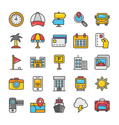Hotel and travel colored icons set 7 vector