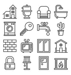 House icons set on white background line style vector