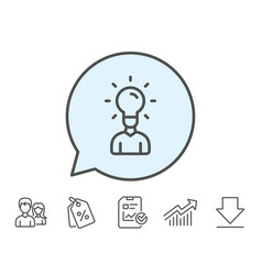 Human silhouette with idea lamp line icon vector