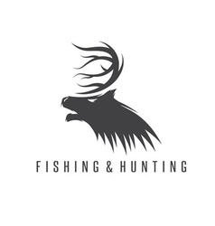 Hunting and fishing vintage emblem negative space vector