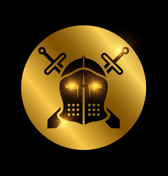 icon with black vintage knights helmet and swords vector image