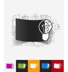Idea paper sticker with hand drawn elements vector