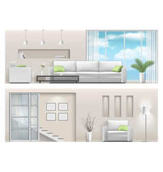 Interior of a bright living room with big window vector