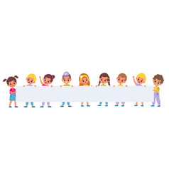 kids holding big poster little girls and vector image