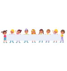 kids holding big poster little girls vector image