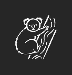 Koala chalk white icon on black background vector