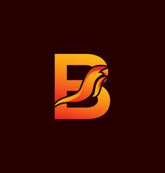 Letter b logo with fire flame shape emblem design vector