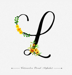 Letter l watercolor floral background vector