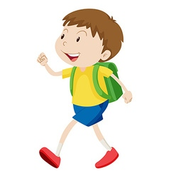 Little boy with schoolbag walking vector image
