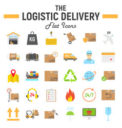 logistic flat icon set delivery symbols vector image