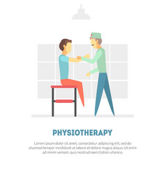male patient receiving physical therapy vector image