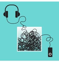 Music earphones headset vector
