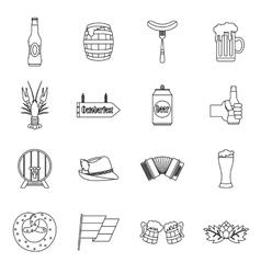 Oktoberfest icons set outline style vector image