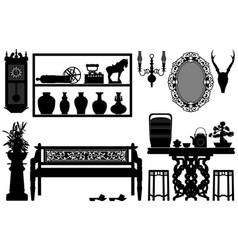 Old antique traditional furniture design vector