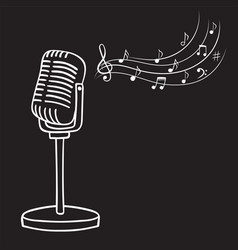 Old microphone and music notes hand drawn vector