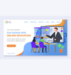 online education web landing page internet course vector image