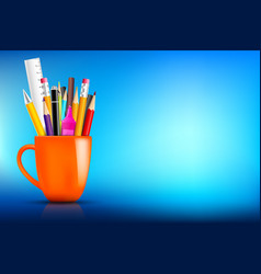 orange stationary mug with pen pencil eraser vector image