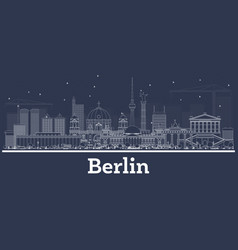 Outline berlin germany city skyline with white vector