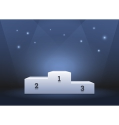 Pedestal for winners podium on blue background vector image