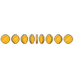 pixel art coin animation game ui golden coins vector image
