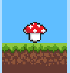 Pixel mushroom on cute 2d meadow banner vector