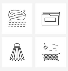 Pixel perfect set 4 line icons such as canoe vector