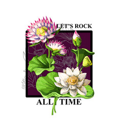 print for t-shirt or poster with waterlily vector image