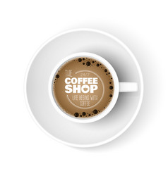 realistic coffee cup top view cup coffee shop ad vector image