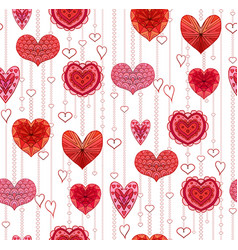 seamless texture with red hanging doodle hearts vector image