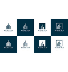 Set building logo with line art style city vector