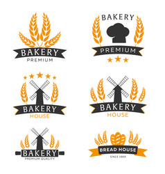 set of bakery shop emblem labels logo and design vector image