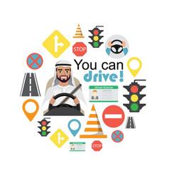 set of road symbols and driver arab man character vector image