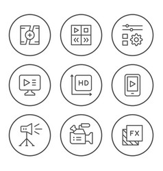 set round line icons video vector image
