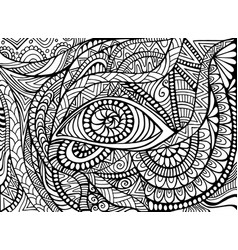 Shamanic eye psychedelic trippy coloring page vector