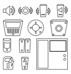 Simple set of detectors icons for window fire vector