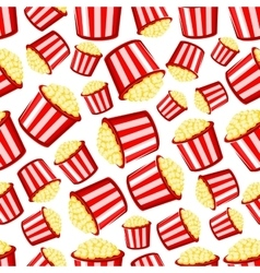 Takeaway buckets of popcorn seamless pattern vector