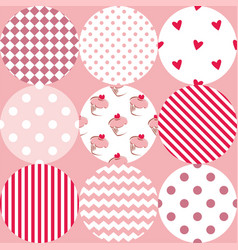 tile patchwork pattern with polka dots cupcakes vector image