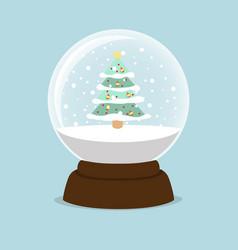 tree christmas inside a crystal ball vector image