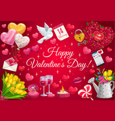 Valentines day heart balloons flowers and birds vector