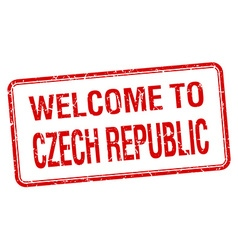 welcome to Czech Republic red grunge square stamp vector image vector image