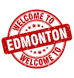 Welcome to edmonton red round vintage stamp vector