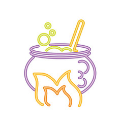 Witch cauldron with bubbling liquid in neon light vector