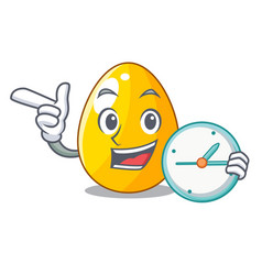 With clock golden eggo on isolated image mascot vector