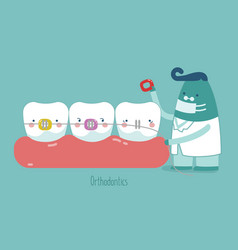 dentist make braces tooth concept of dental vector image vector image